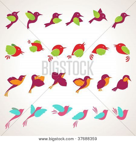 Set of vector birds icons
