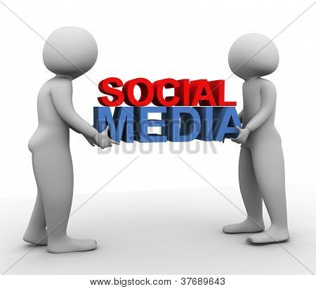 3D Men With 'social Media'