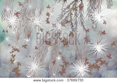 Sparkling Fir Tree Branches With Maple Leaves