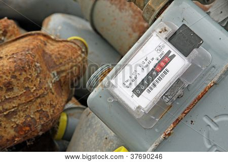 Bunch Of Obsolete Rusty Counters To Measure Gas