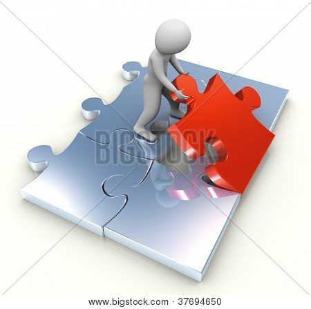 3D Man Placing Puzzle Piece