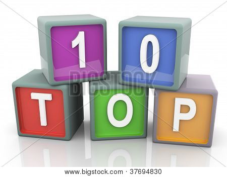 3D Colorful Text 'top 10'