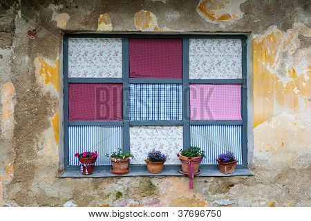 Old Romantic Windows With Flowerpots
