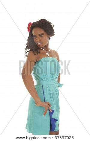 Blue Dress Woman Serious