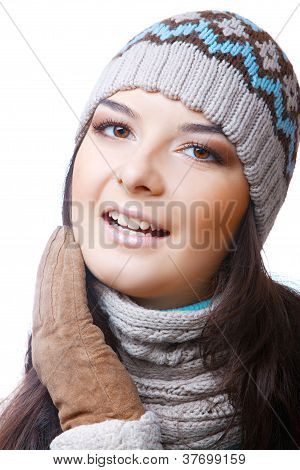 woman winter on isolated background