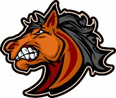 foto of mustang  - Cartoon Mascot Icon of a Mustang Bronco Horse - JPG