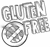 pic of wheat-free  - Doodle style illustration of a gluten free food or product label - JPG