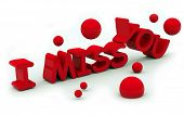 picture of miss you  - I miss you text on white background - JPG