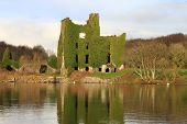 stock photo of galway  - The ruins of Menlo Castle on the banks of the River Corrib - JPG