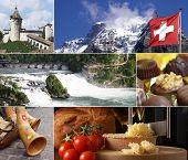 Switzerland Landmark Collage poster