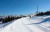 ski trail on jesenik mountain and television transmitter praded - czech republic