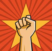 stock photo of communist symbol  - Vector Illustration of a fist held high in the style of Russian Constructivist propaganda posters - JPG