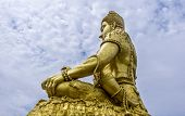 picture of shankar  - Side view of the statue of Deity Shankar at Shiva temple Minburi Bangkok - JPG