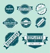 image of employee month  - Collection of retro style employee of the month labels and stickers - JPG