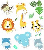 image of ape  - vector cartoon illustration of seven baby animals and jungle leaves - JPG