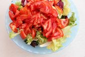 picture of crudites  - Fresh salad with tomatoes in a bowl - JPG