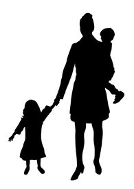 image of mother child  - silhouette of mother with children on white - JPG