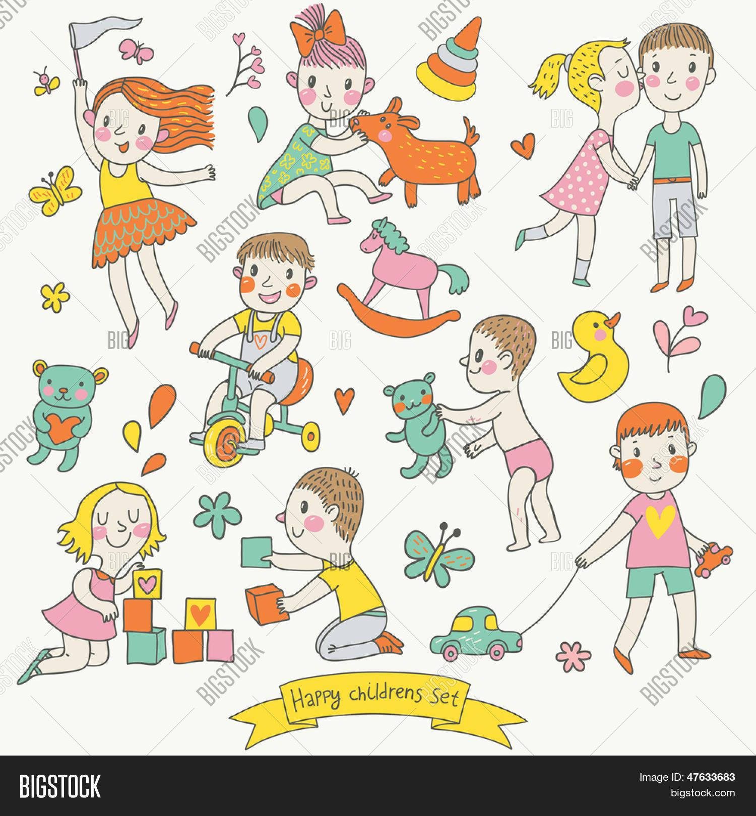 Vectores y fotos en stock de vector infantil en estilo de - Dibujos infantiles de ninos jugando ...