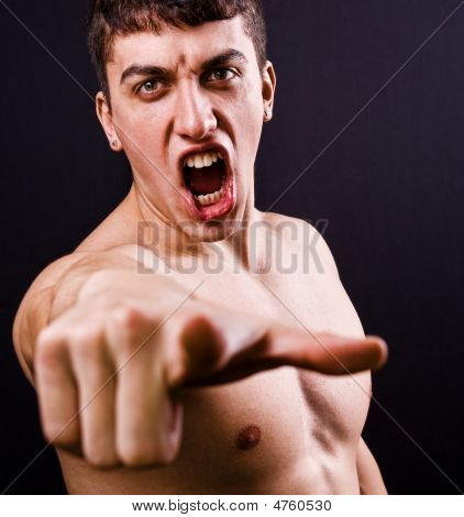 Scream Of Furious Angry Violent Man