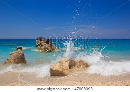 Sandy beach with stones in Kalamitsi Lefkas Greece