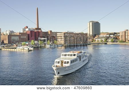 Landscape of a Ship in Tampere harbour Finland.