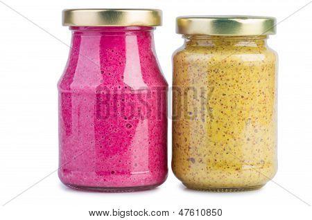 Glass jars with mustard horseradish sauce