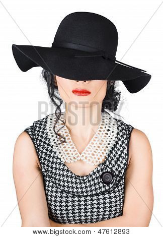 Brunette Woman In Chic Pearl Jewelry. Fashion Hats