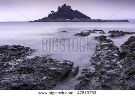 St Michael's Mount Bay Marazion landscape pre-dawn long exposure Cornwall England