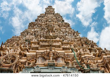 Traditional Gopuram Of Hindu Temple