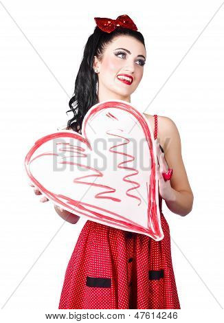 Young Lady Holding Retro Red Heart Card
