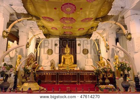 Buddha Statue In Temple Interior