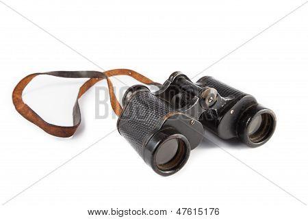 Black old military binoculars