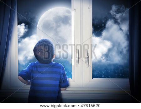Boy Looking At Night Moon And Stars