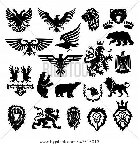 versatile collection of stylized heraldic design of silhouette icons