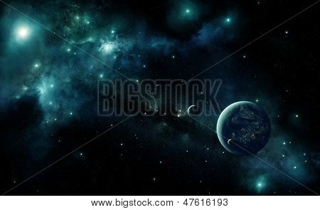 Illustration of an inhabited alien planet in space with a blue nebula and stars. Lights of cities are visible under the cloud layer of the planet