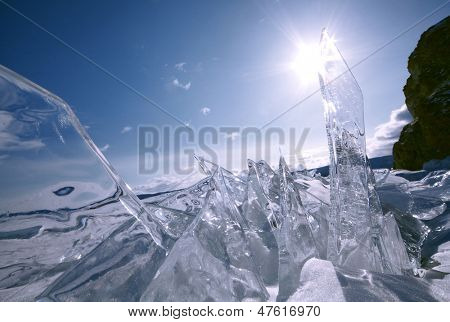 block of ice with sun