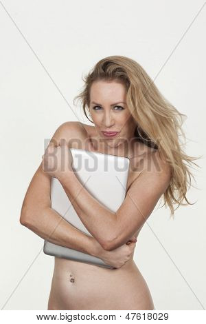 Naked Woman Posing With A Laptop Computer