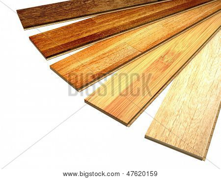 New oak parquet of different colors. Isolated over white