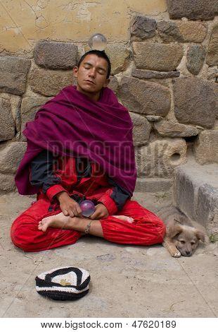 Buddhist Monk with Dog