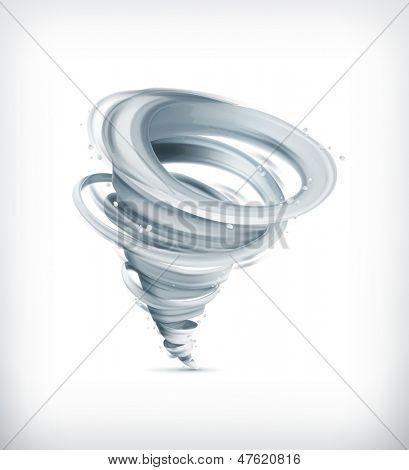 Tornado, icono del vector