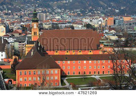 INNSBRUCK, AUSTRIA - CIRCA NOVEMBER 2012: Stiftskirche Wilten from above Innsbruck in November 2012.