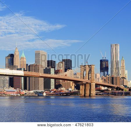 Brooklyn Bridge with lower Manhattan skyline panorama in the morning with  cloud and blue sky over East River in New York City