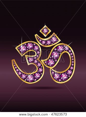 Om Symbol In Gold With Garnet Stones