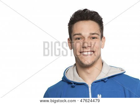Close Up Of Happy Man One White Background