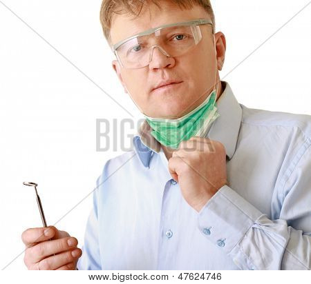 Dentist with tools, isolated on white background
