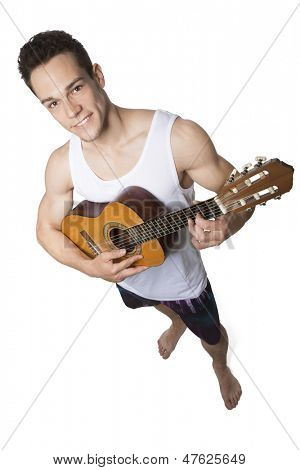Young Man Holding Guitar Over White Background
