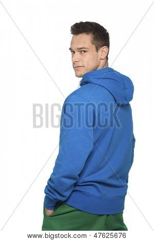 Portrait Of Handsome Man Over White Background