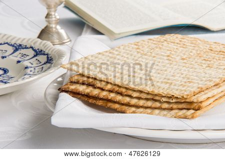 Closeup Of Matzah On Plate