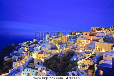 Oia Village On Santorini Island At Night