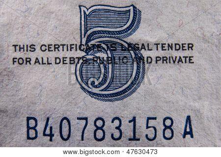 Five Dollar Bill Detail